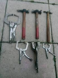 Panel beaters hammers and pannel clamps