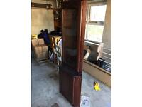 Tall wooden corner unit with glass display cabinet