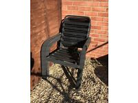 ***FREE to Collecter***X4 stackable black metal and rubber backed patio chairs.