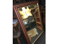 Gorgeous Very Large Antique Style Mirror with Ornate Mahogany Wood & Gilt Frame