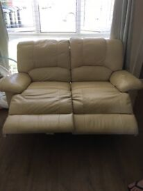 LEATHER RECLINER SOFAS : CREAM 3 & 2 Seaters