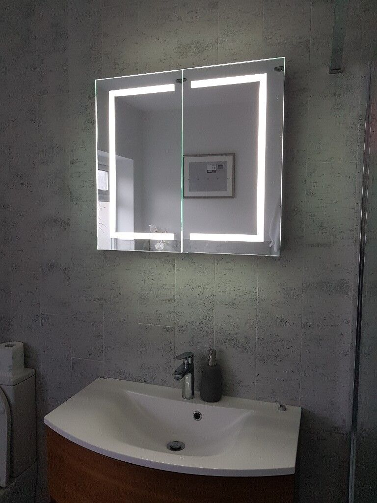 Stylish Illuminated Bathroom Mirror Cabinet With Audio