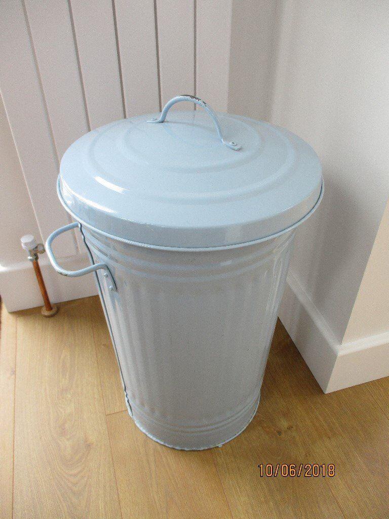 Large Blue Metal Kitchen Bin