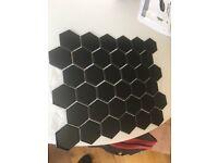 Black hexagon floor tile sheets shinny