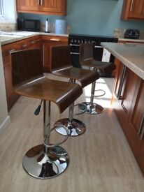Walnut Gas Lift Bar Stools. All 3 in reasonable condition