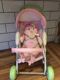 Fisher Price Dolls Pram Baby with Crib and seat