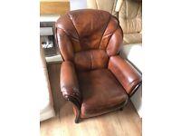 Leather suite highback 2/1/1 chestnut brown