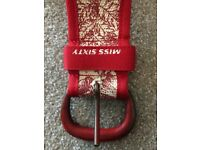 Miss Sixty belt, red on white canvas, 95 cm / 37 in