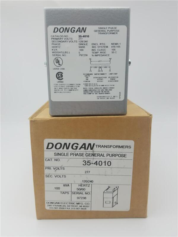 35-4010 Dongan 1 Phase General Purpose Transformers Pri-277v Sec-120/240 .100kva