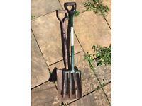 Garden spade and fork