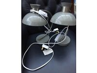 Pair of Grey Metal Bedside/Desk lamps