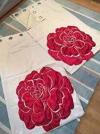Next curtains - beige with a red flower