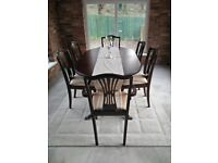 Solid Mahogany Rope Finish Dining Room Table & Chairs (6)