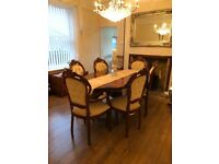 Rococo Mahogany Dining Table and Chairs
