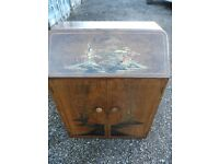 Japanese decorated Turnidge bureau w+ writing slope, matching coffee table in seperate auction
