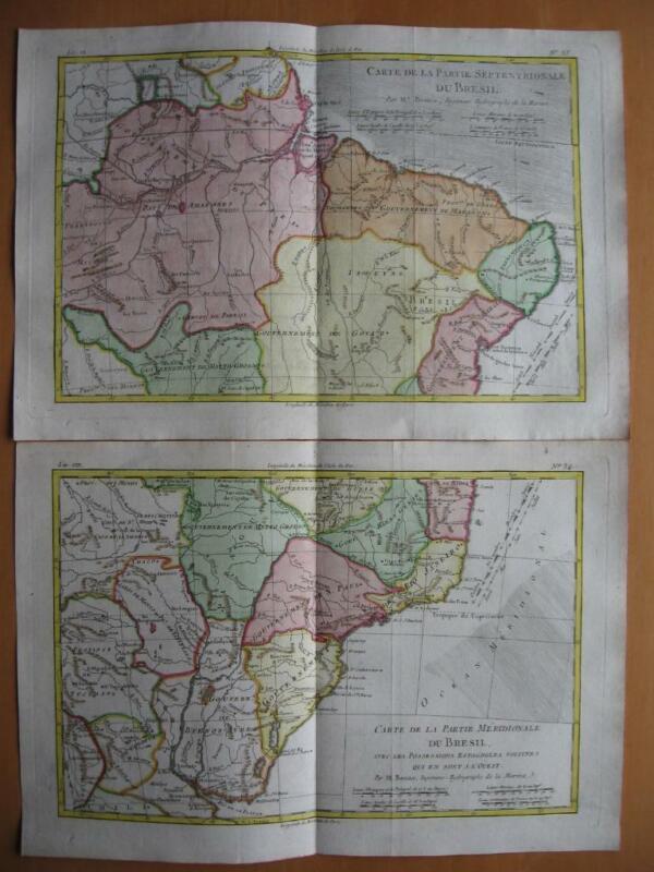 BONNE - 2 Maps BRAZIL Brasil c1780