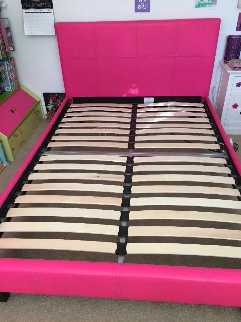 Pink Faux Leather Double Bed