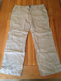 "Next Men's Stone Linen Trousers (36""R) (never worn)"