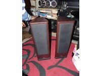 Pair Tannoy 633 stereo speakers powerful floor-standing rosewood home cinema monitor