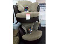 dfs swivel cuddles chair x2