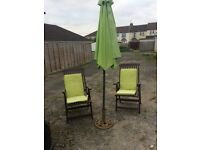 John Lewis x2 reclining chairs and parasol
