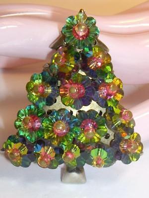 1ff574d1c70 Vintage Margarita Watermelon Rivoli Glass Flowers Christmas Tree Pin Brooch
