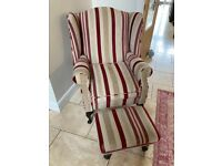 Laura Ashley Reclining Armchair with Matching footstall
