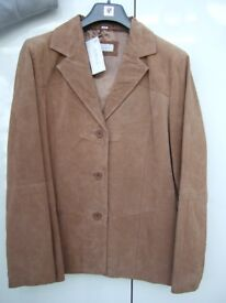 Ladies tan coloured suede leather jacket size 14