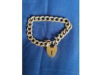 9ct yellow rolled gold padlock bracelet