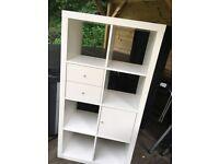 IKEA white storage shelves with 2 draws