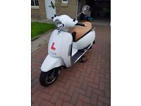 Lexmoto Vienna 50CC. White, only two months old. Tan leather seat.