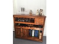 Furniture beautiful oak unit perfect for displaying wine glasses and storing bottles of wine