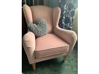Next 'Madeline' pink armchair (small wingback chair in vgc)