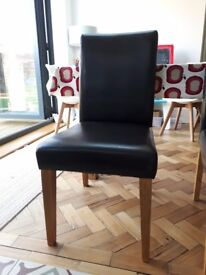 4 Next moda brown faux leather dining chairs