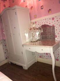 Girl's white bedroom furniture - Bed, wardrobe & dressing table with mirror