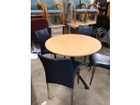 Table and 4 Navy Napa leather chairs