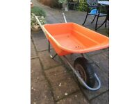 Wheel barrow, muck scoop, rubber heavy duty over door feed bucket and more