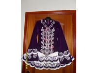Beautiful Purple/White Velvet Irish Dancing Dress - by Taylor, Belfast - suit approx age 11-14 years