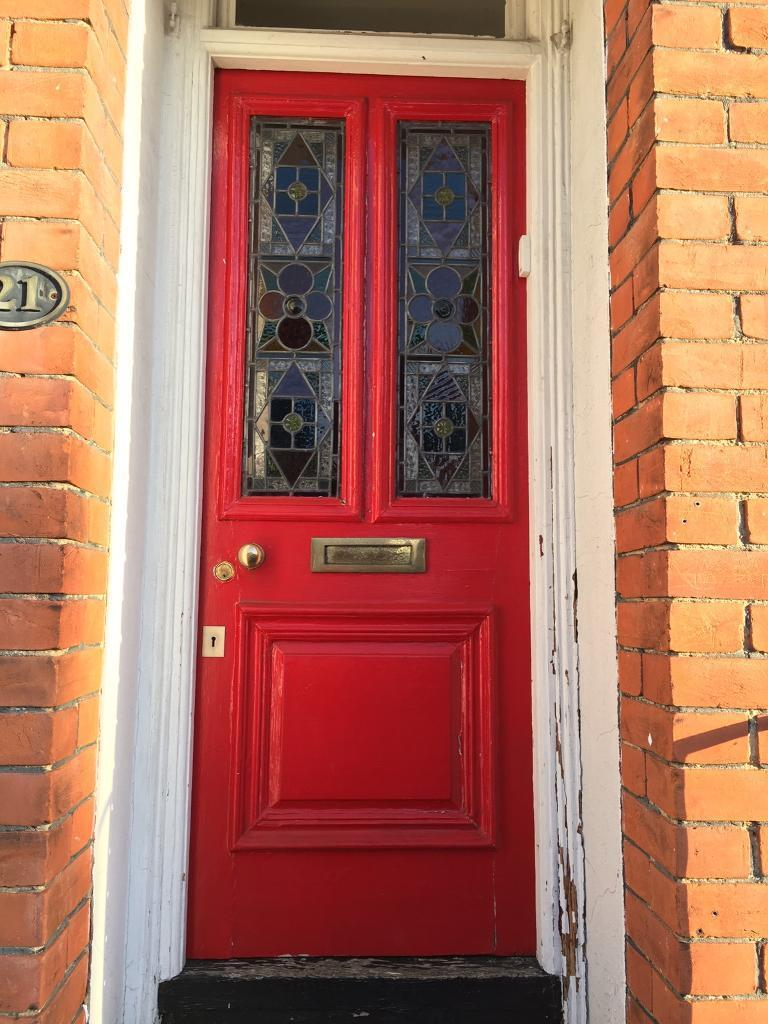 Sold Original 1904 Victorian Front Door With Leaded Stained Glass