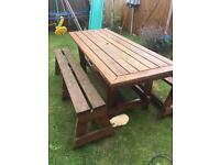 Large picnic table and 2 benches