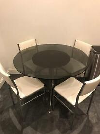 *** ROUND GLASS TABLE & 4 FREE CHAIRS - FOR SALE ***