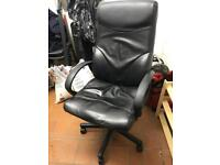 Leather black office arm chair
