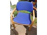 Deskchair - blue padding, wooden arms and legs