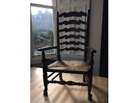 Beautiful antique ladderback. rush seat chair. oak. Excellent condition.
