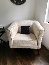 Beige jacquard material large chair