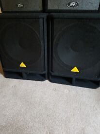 Behringer 18 inch active subwoofers pair