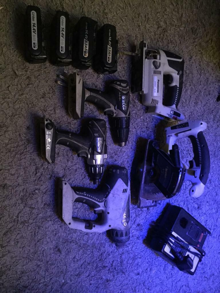 Panasonic cordless tools ( 2 saws and 3 drills with 4 battery's and 2 chargers ).