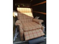 Parker Knoll Recliner in red tartan wool fabric, classic shape professionally Recovered