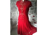 EXQUISITE RED 100% SILK BETTY BARCLAY **PROM** DRESS 12