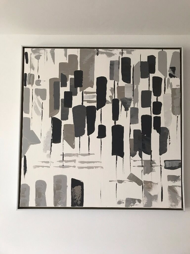 Dunelm grey silver abstract large canvas almost new